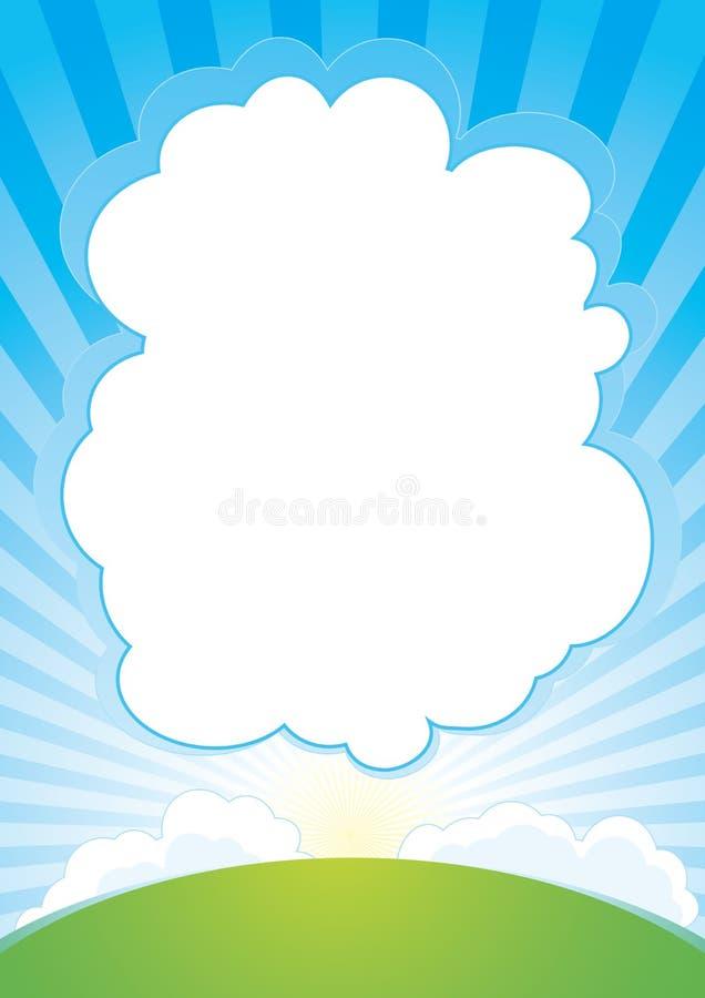 Lever de soleil avec le fond de nuage illustration de vecteur