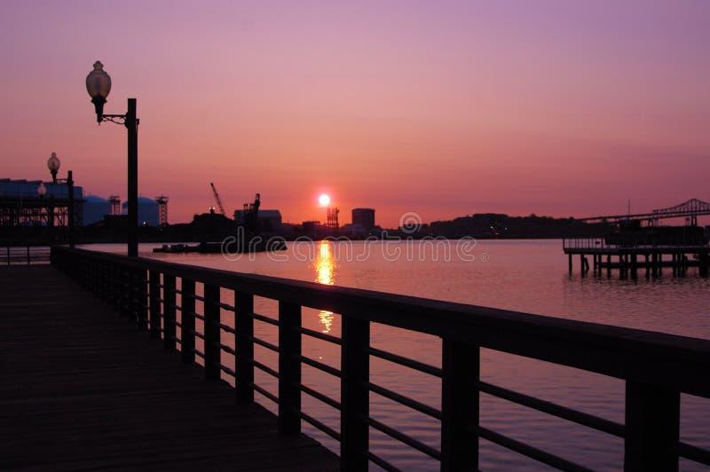 Lever de soleil Boston images libres de droits
