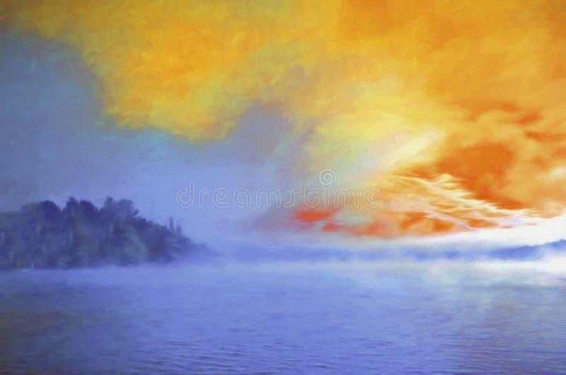 Lever de soleil brumeux au-dessus du lac photo libre de droits