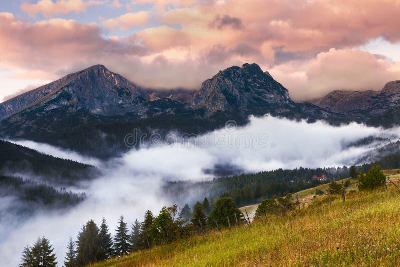 Lever de soleil brumeux avec vue sur les crêtes de montagne photo libre de droits