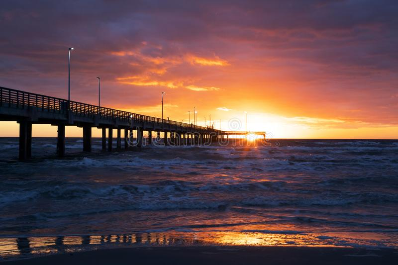 Lever de soleil chez Bob Hall Pier photo stock