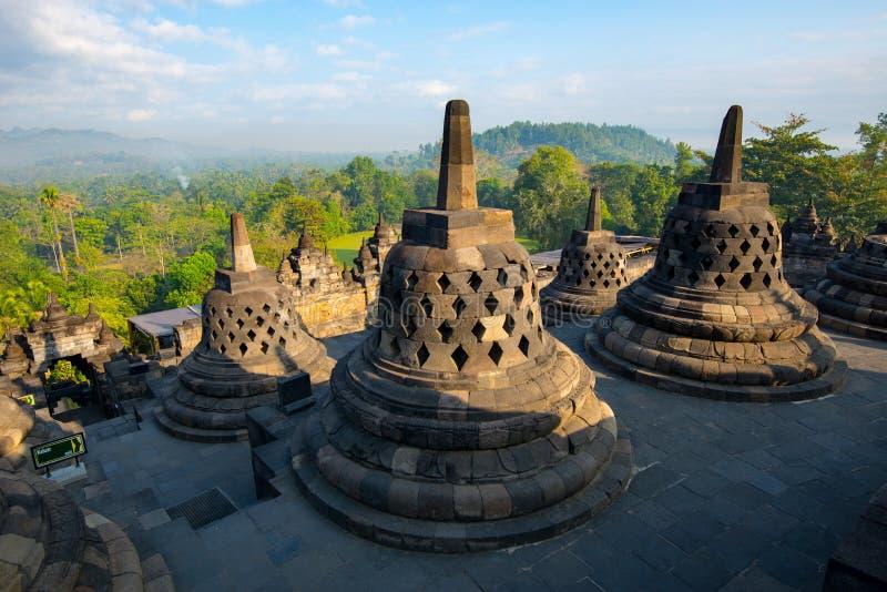 Lever de soleil chez Borobudur - temple bouddhiste Java-Centrale, Indon?sie photo libre de droits