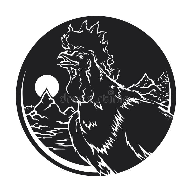 lever de soleil chinois de zodiaque de coq ardent illustration stock