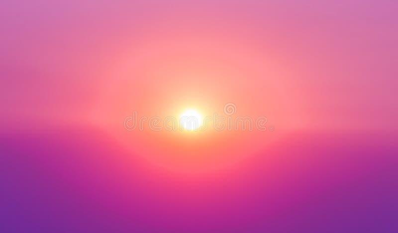 Lever de soleil ciel pourpre et rose de Sun avec la réflexion dans l'eau, colorf image stock