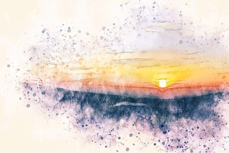 Lever de soleil coloré abstrait dans le matin sur le fond de peinture d'illustration d'aquarelle image libre de droits