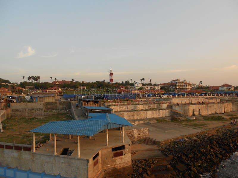 Lever de soleil, coucher du soleil, comorin de cap, Kanyakumari, Tamilnadu photo stock