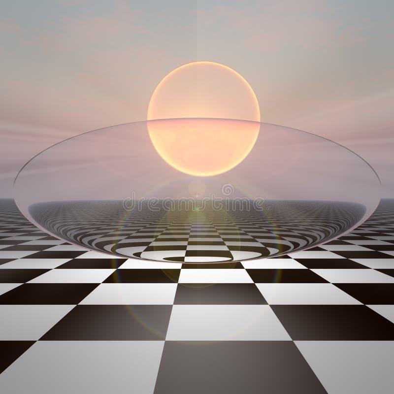 Lever de soleil Crystal Sphere à carreaux image stock