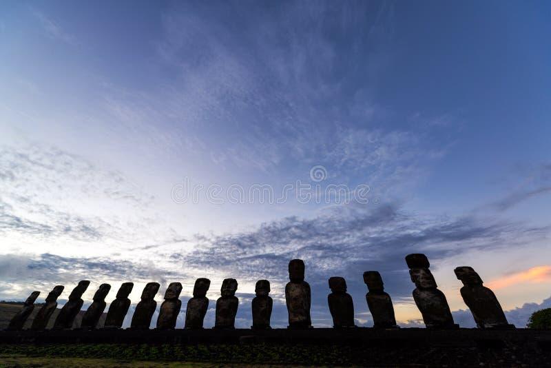 Lever de soleil d'île de Pâques photographie stock libre de droits