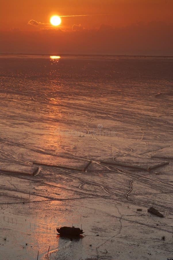 Lever de soleil d'Infertidal Mudflat de Xiapu image libre de droits