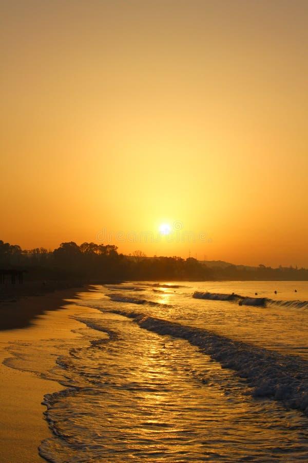Lever de soleil dans Hammamet, Tunisie image stock