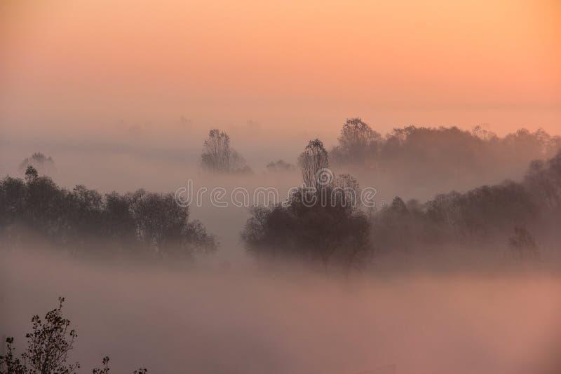 Lever de soleil dans la brume de matin photo stock