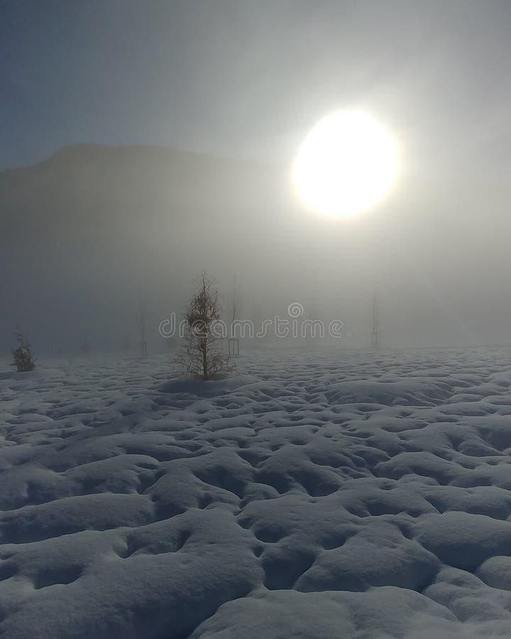 Lever de soleil dans la neige images libres de droits