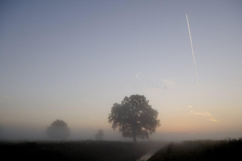 Lever de soleil dans le brouillard images stock