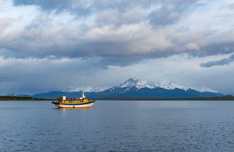 Lever de soleil dans le dernier bruit d'espoir, Puerto Natales, Chili photos libres de droits