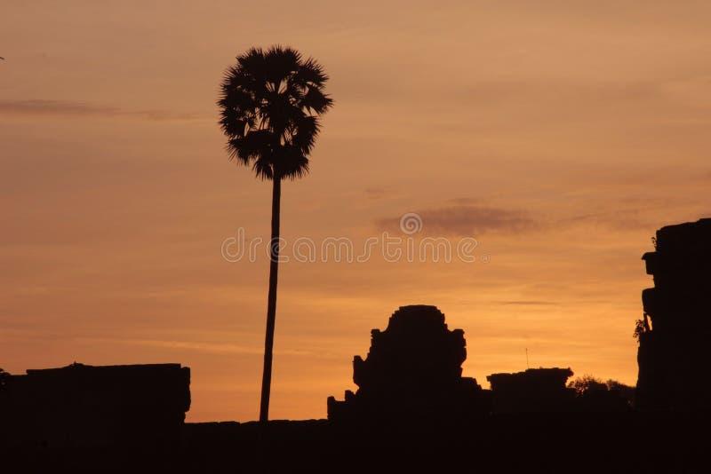 Lever de soleil dans le wat d'angkor photographie stock libre de droits