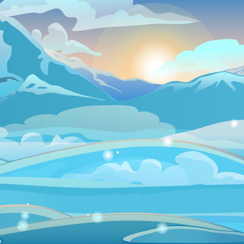 Lever de soleil dans les montagnes neigeuses Croquis pour la carte de voeux de Noël et de nouvelle année, l'affiche de fête ou le illustration de vecteur