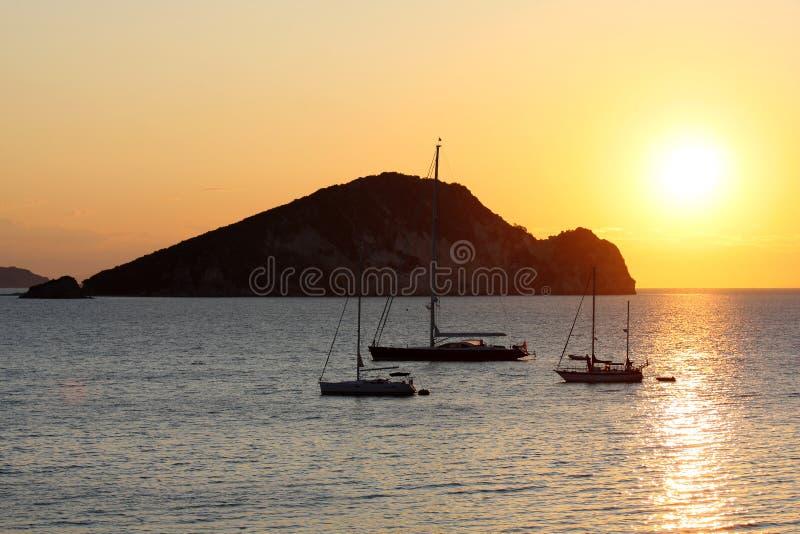 Lever de soleil dans Zakynthos, Grèce images libres de droits