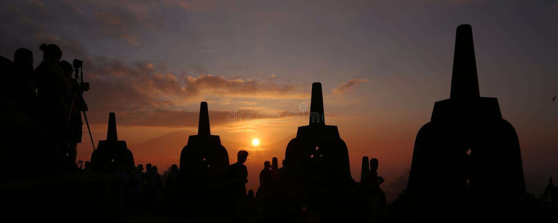Lever de soleil de calibre de Borobudur photo stock