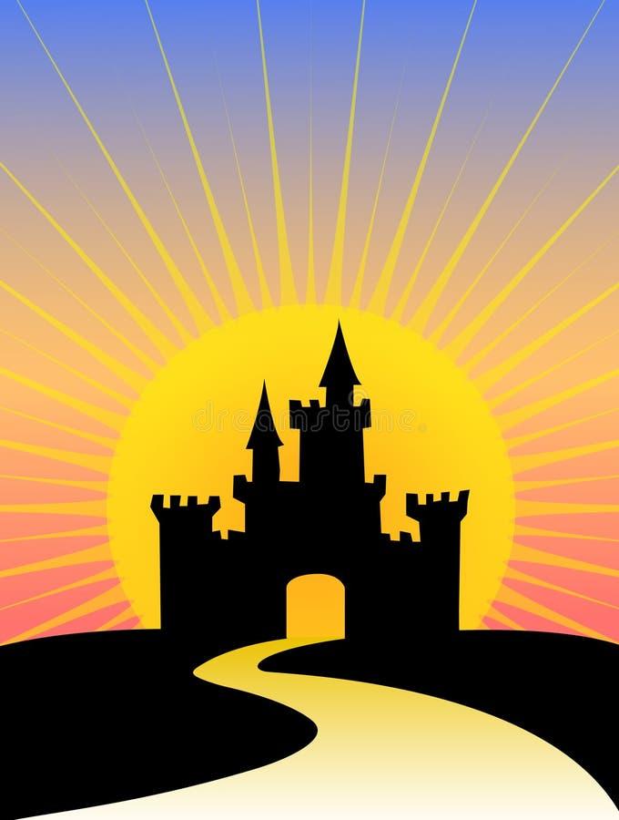 Lever de soleil de château de silhouette illustration de vecteur