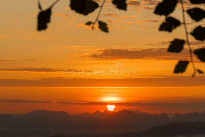 Lever de soleil de coucher du soleil de paysage photos stock
