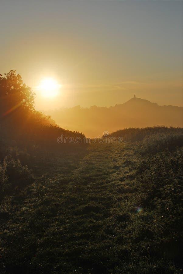 Lever de soleil de Glastonbury Avalon image libre de droits