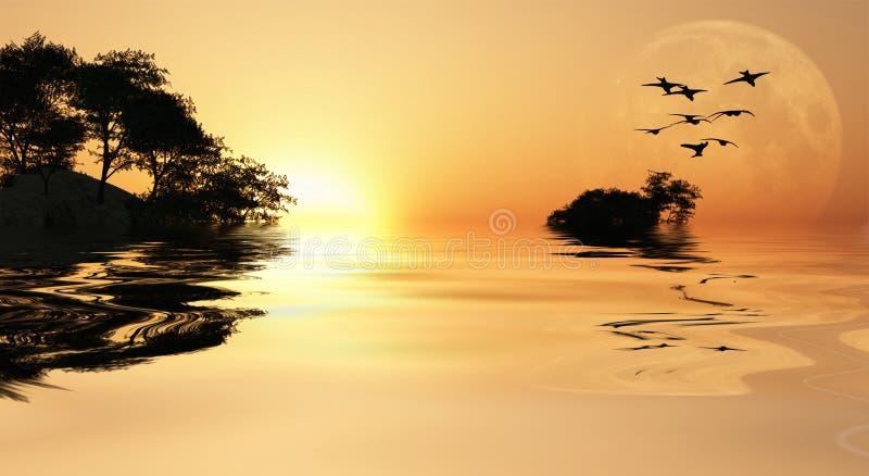 Lever de soleil de l'Asie illustration stock