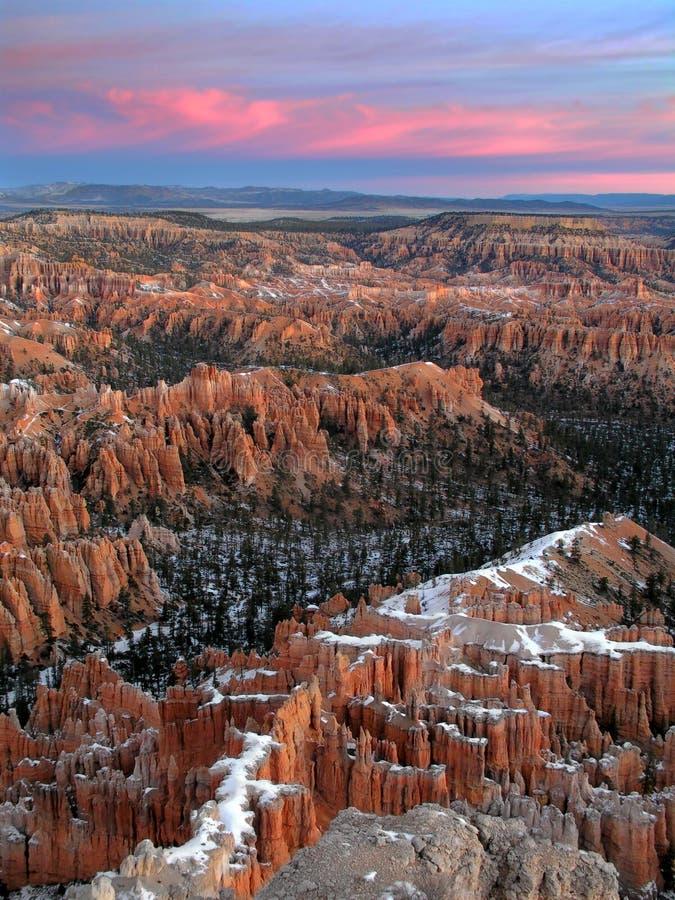 lever de soleil de l'hiver de gorge de bryce photo libre de droits