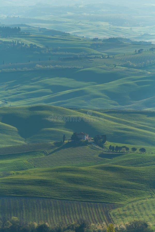 Lever de soleil de la Toscane de ferme photo libre de droits