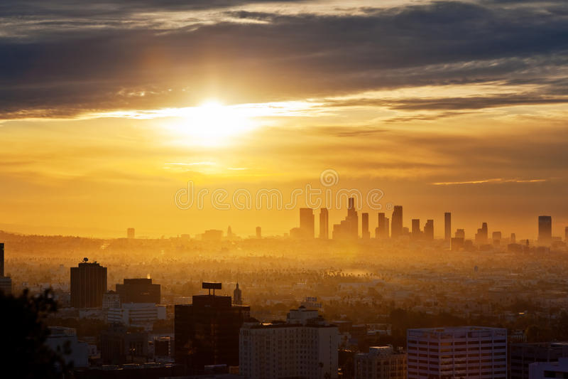 Lever de soleil de Los Angeles images libres de droits