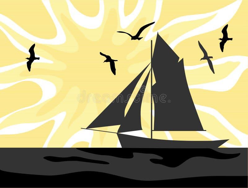 Lever de soleil de marins illustration de vecteur