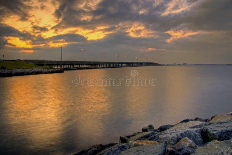 lever de soleil de passerelle de compartiment photos libres de droits