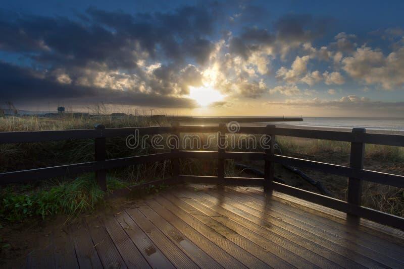 Lever de soleil de promenade de Swansea photos libres de droits