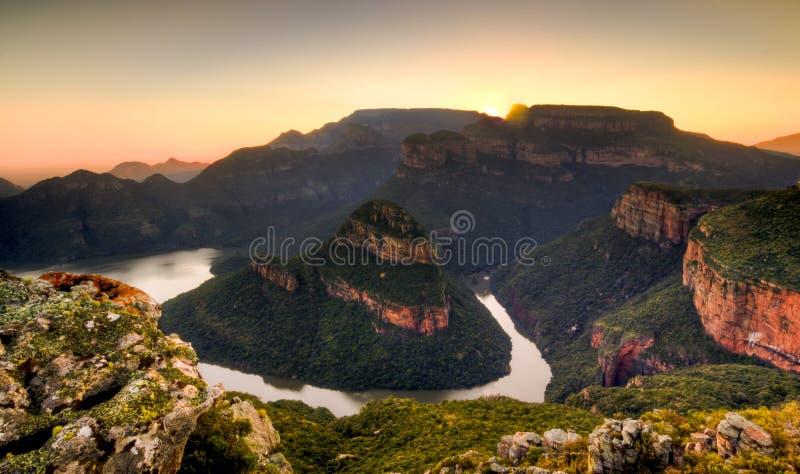 Lever de soleil de rivière de Blyde images libres de droits