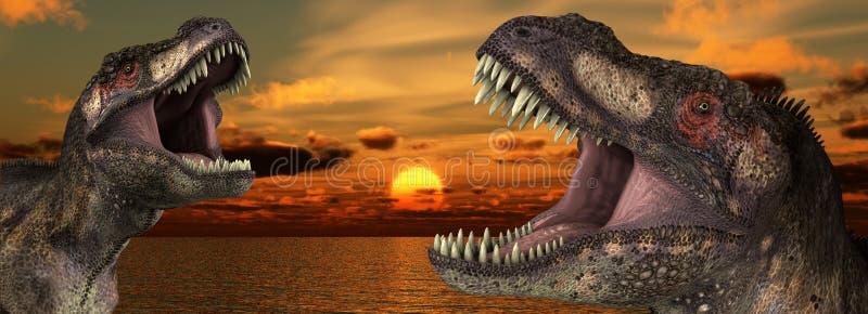 Lever de soleil de T Rex illustration stock