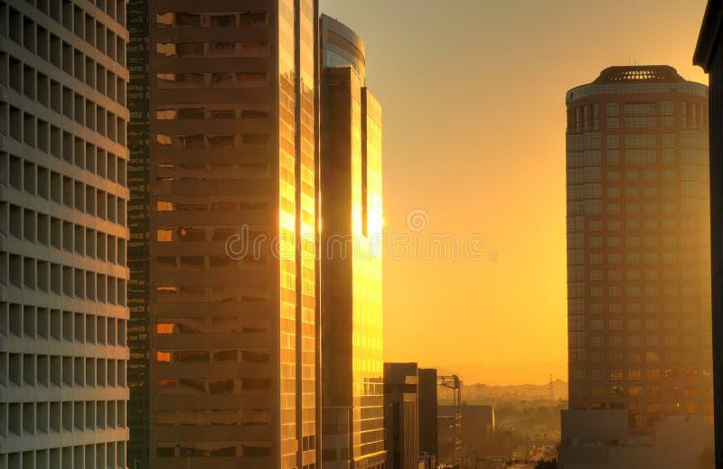 Lever de soleil de ville photos libres de droits