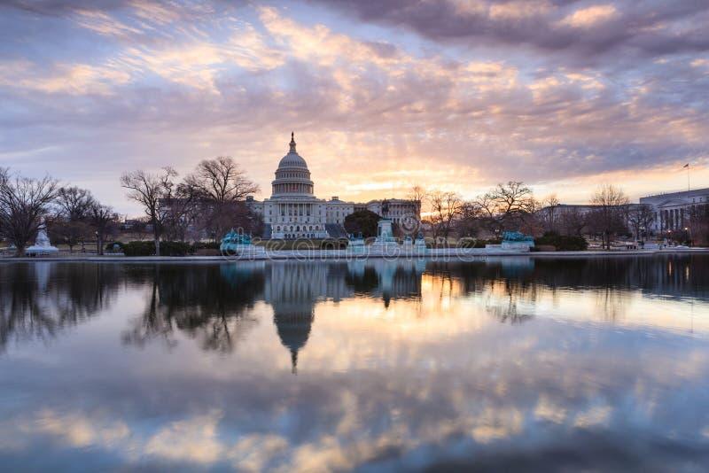 Lever de soleil de Washington DC de bâtiment de capitol des USA images stock