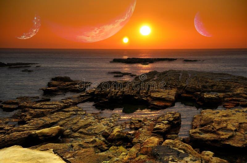Lever de soleil des deux soleils image libre de droits