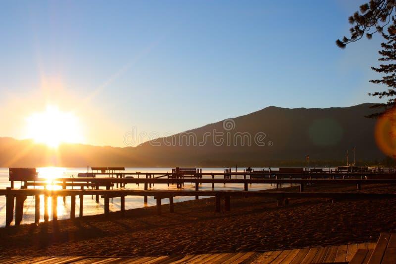 Lever de soleil du sud du lac Tahoe image libre de droits