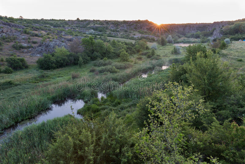 Lever de soleil en canyon d'Aktove images libres de droits