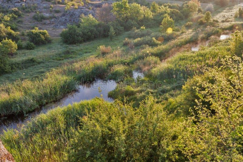 Lever de soleil en canyon d'Aktove image libre de droits