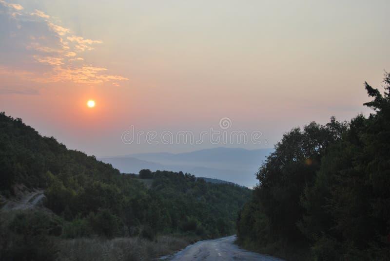 Lever de soleil en Du nord-Grèce photographie stock libre de droits