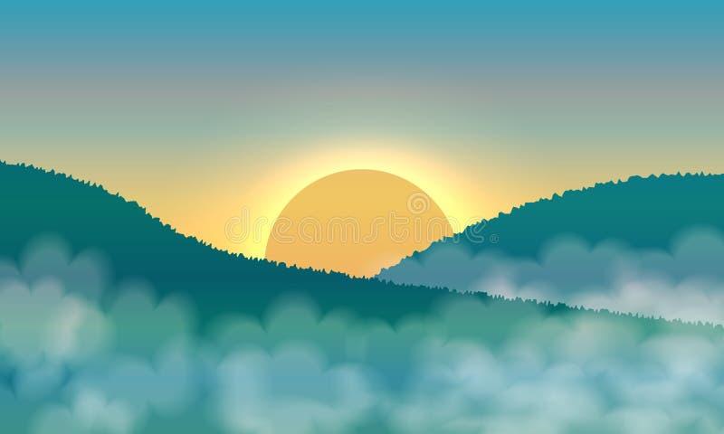 Lever de soleil et brume dans les montagnes illustration stock