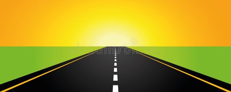 Lever de soleil de jaune de route goudronnée illustration de vecteur