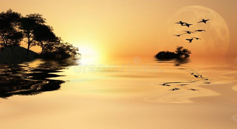 Lever de soleil de l'Asie illustration de vecteur
