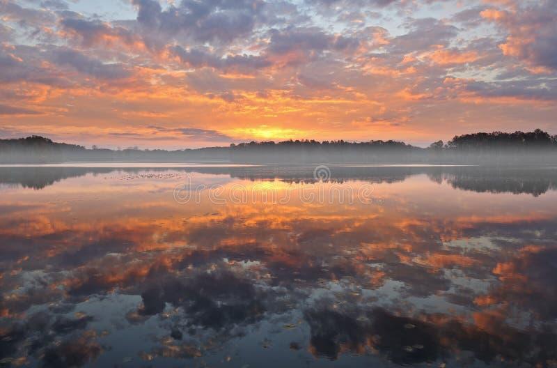 Lever de soleil, lac jackson Hole photo libre de droits