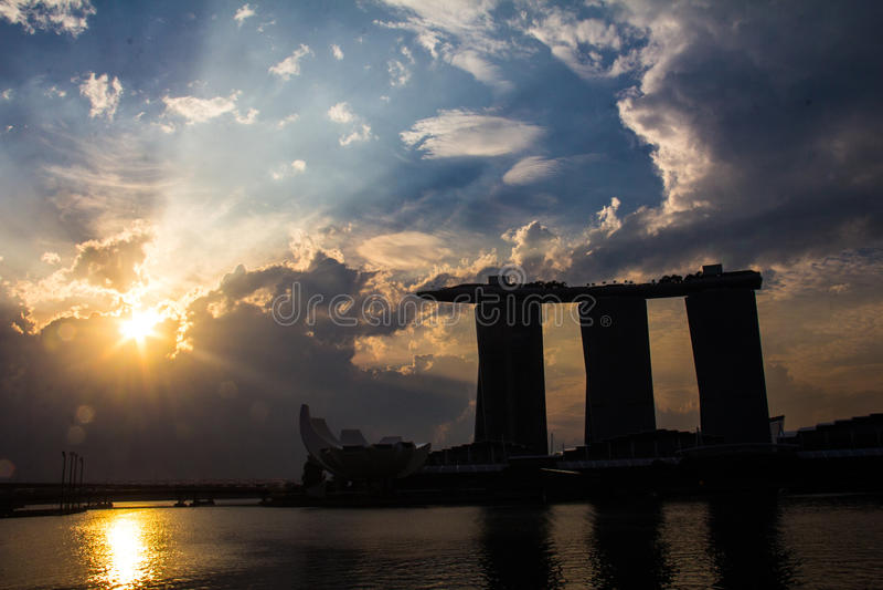 Lever de soleil Marina Bay Sands photo libre de droits