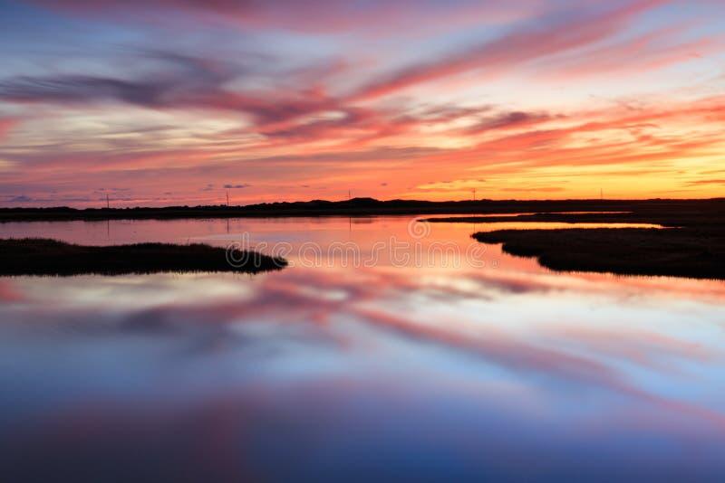 Lever de soleil Marsh Bodie Island Outer Banks North Caroline OR images stock