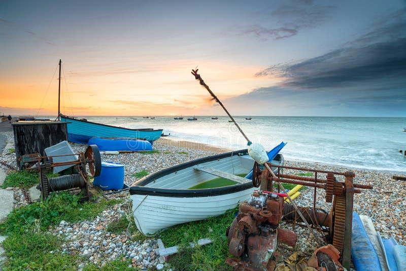 Lever de soleil orageux chez Selsey image stock
