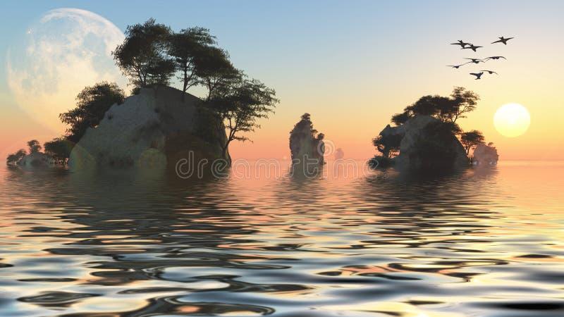 Lever de soleil ou coucher du soleil au-dessus des îlots fantastiques illustration stock