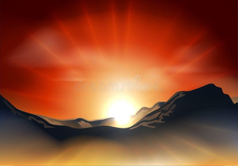 Lever de soleil ou coucher du soleil sur un intervalle de montagne illustration stock